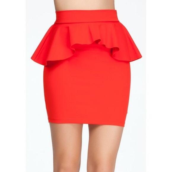 bebe Dresses & Skirts - Bebe Red Peplum Skirt